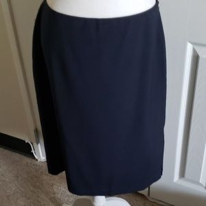 Linda Allard Ellen Tracy navy blue wool skirt 12